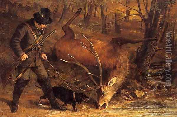 The German Huntsman Oil Painting - Gustave Courbet