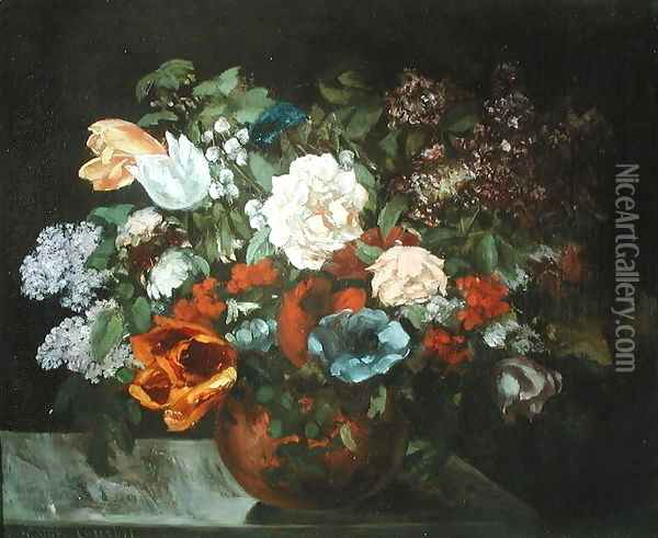 Bouquet of Flowers, 1863 Oil Painting - Gustave Courbet