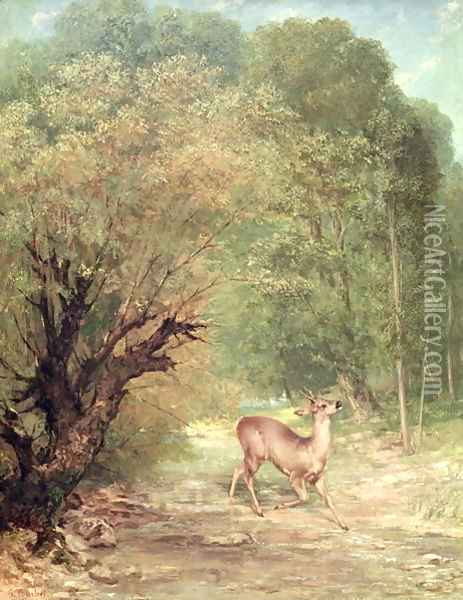 The Hunted Roe-Deer on the alert, Spring, 1867 Oil Painting - Gustave Courbet