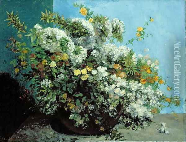 Flowering Branches and Flowers, 1855 Oil Painting - Gustave Courbet
