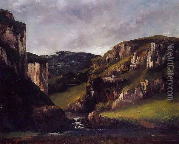 Cliffs near Ornans Oil Painting - Gustave Courbet