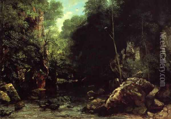 The Shaded Stream (or The Stream of the Puits Noir) Oil Painting - Gustave Courbet