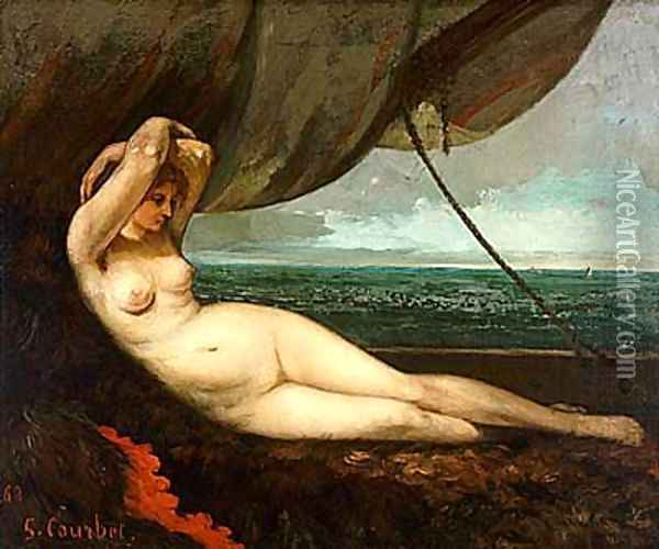 Nude reclining by the sea Oil Painting - Gustave Courbet