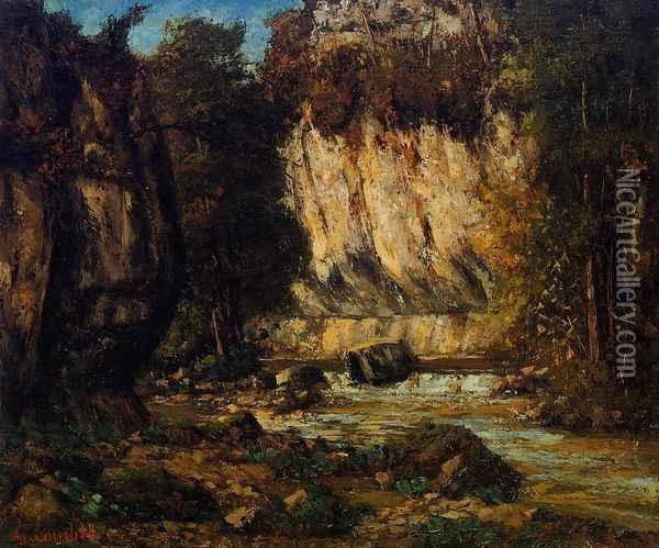River and Cliff Oil Painting - Gustave Courbet