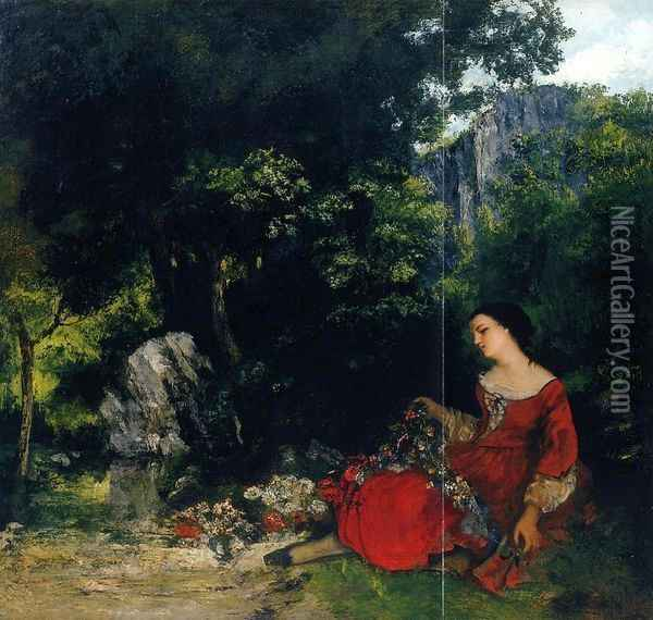 Woman with Garland Oil Painting - Gustave Courbet