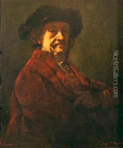 Copy of a Rembrandt Self Portrait, 1869 Oil Painting - Gustave Courbet