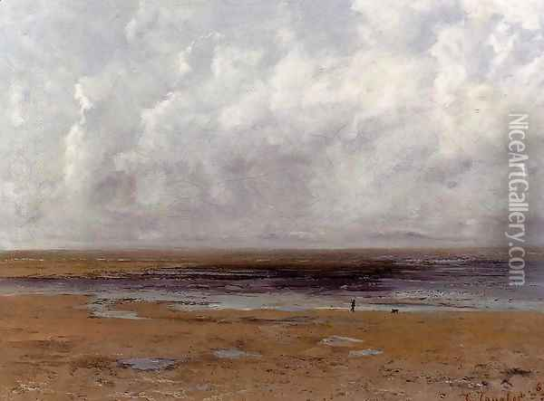 The Beach at Trouville at Low Tide Oil Painting - Gustave Courbet