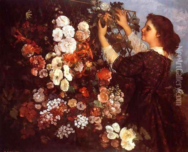 The Trellis Oil Painting - Gustave Courbet