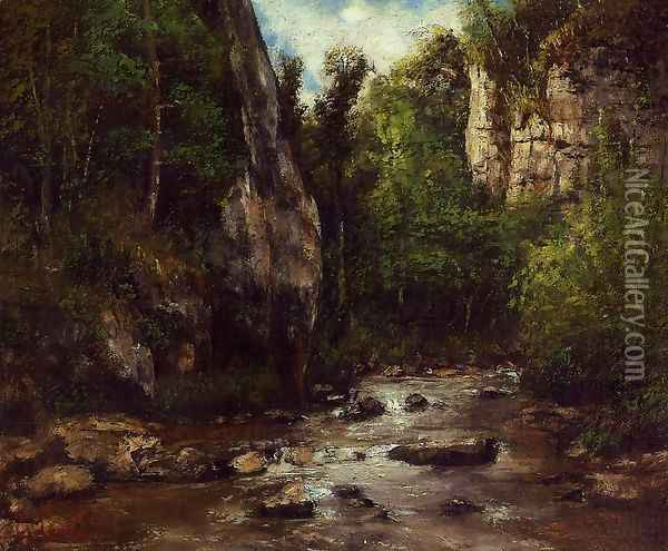 Landscape near Puit Noir, near Ornans Oil Painting - Gustave Courbet
