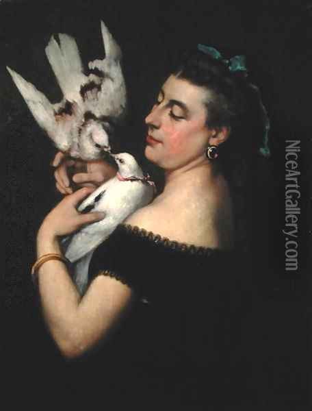 Woman with Pigeons Oil Painting - Gustave Courbet