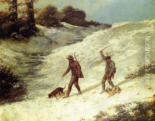Poachers in the Snow Oil Painting - Gustave Courbet