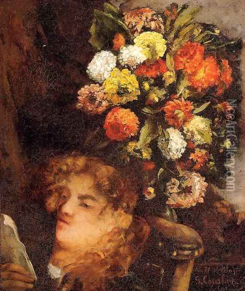 Head Of A Woman With Flowers Oil Painting - Gustave Courbet