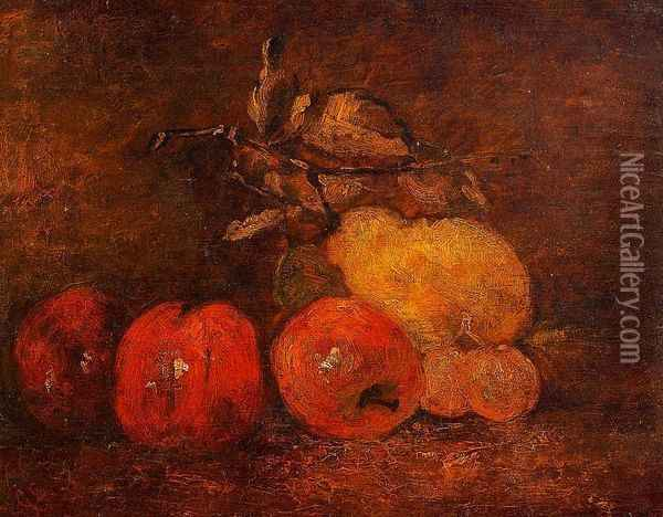 Still Life with Pears and Apples Oil Painting - Gustave Courbet