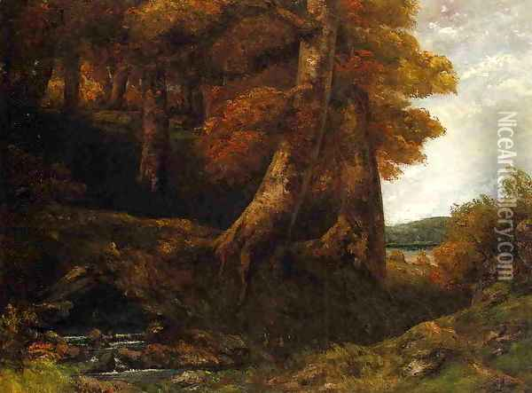 Entering the Forest Oil Painting - Gustave Courbet
