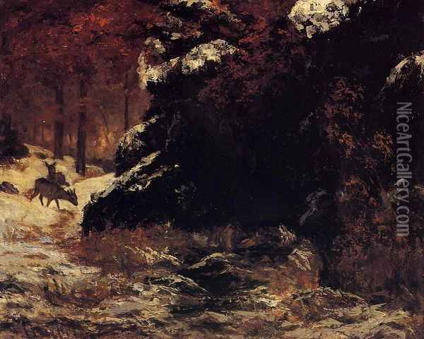 Deer in the Snow Oil Painting - Gustave Courbet