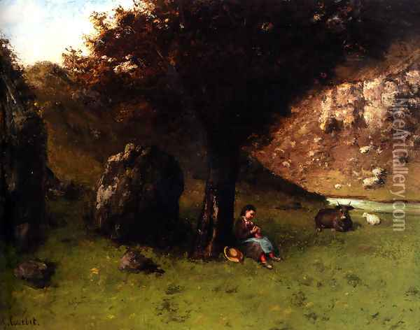 La Petite Bergere (The Young Shepherdess) Oil Painting - Gustave Courbet