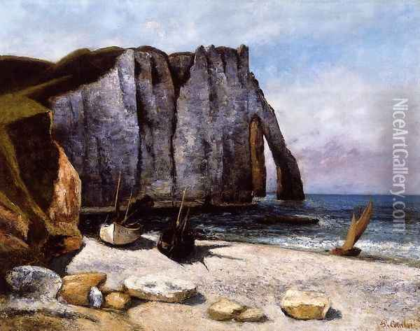 The Cliff at Etretat, the Porte d'Avale Oil Painting - Gustave Courbet