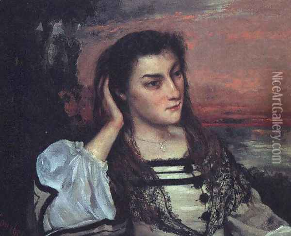 Portrait of Gabrielle Borreau (or The Dreamer) Oil Painting - Gustave Courbet