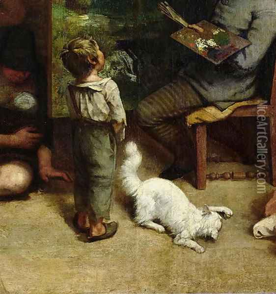 The Studio of the Painter, a Real Allegory, 1855 (detail) Oil Painting - Gustave Courbet