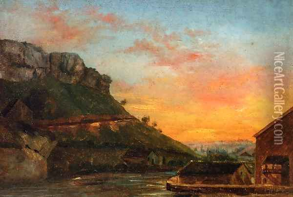 Valley of the Loue Oil Painting - Gustave Courbet