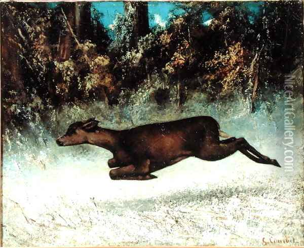 Leaping Doe Oil Painting - Gustave Courbet