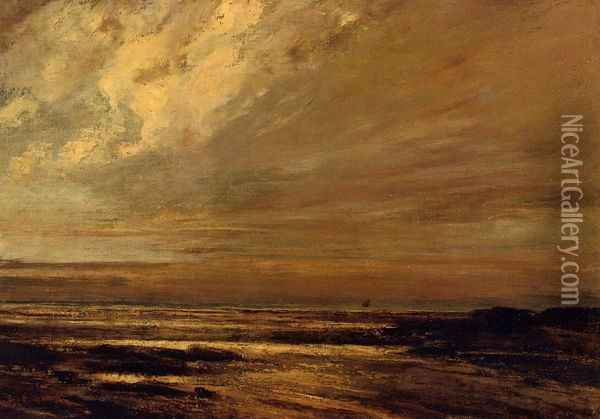 The Beach at Trouville at Low Tide II Oil Painting - Gustave Courbet