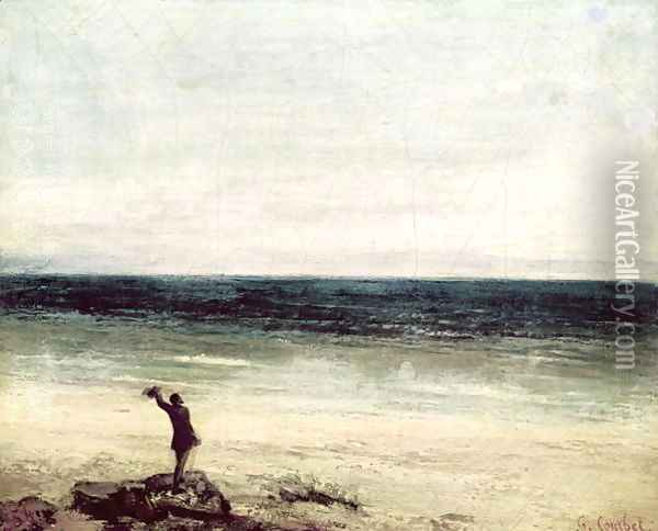 The Artist on the Seashore at Palavan Oil Painting - Gustave Courbet