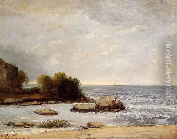 Seascape at Saint-Aubin Oil Painting - Gustave Courbet