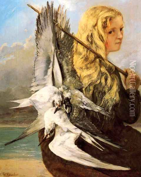 Girl with Seagulls, Trouville Oil Painting - Gustave Courbet