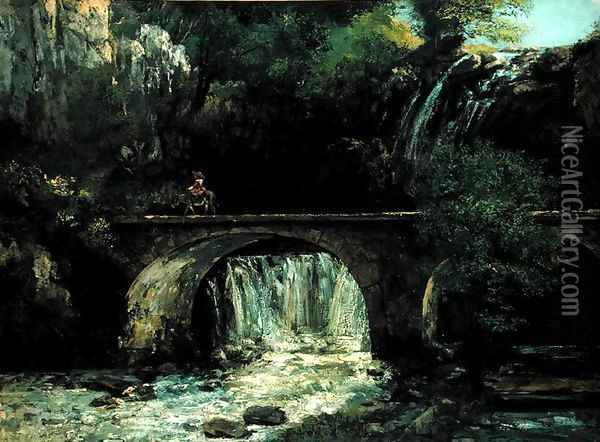 Landscape with bridge Oil Painting - Gustave Courbet