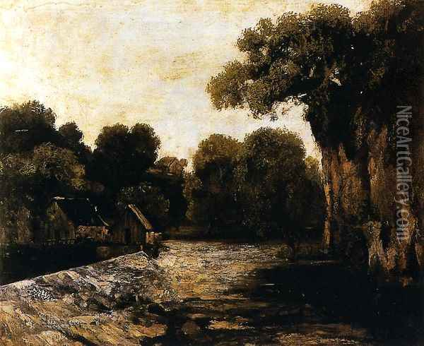 Locks on the Loue Oil Painting - Gustave Courbet