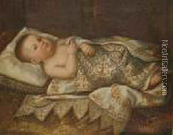 Portrait Of Leopoldo Di Cosimo  Ii De'medici, As An Infant, Lying On A Bed With An Embroidered Cover Oil Painting - Tiberio di Tito