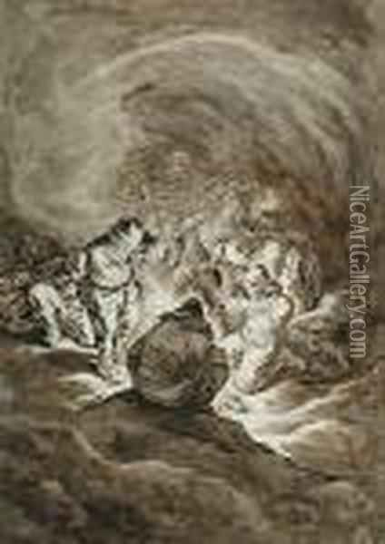 Peasants Crowded Round A Fire In A Cavern Oil Painting - Johann Christoph Dietzsch