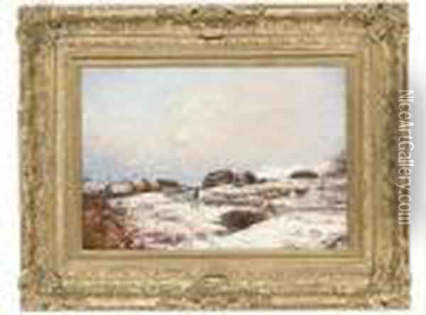 A Shepherd Driving His Flock Along A Snowy Path Oil Painting - Alexander Brownlie Docharty
