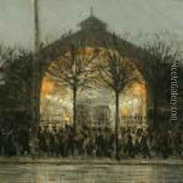 Figures In Front Of Theold Railway Hall Oil Painting - Heinrich Dohm