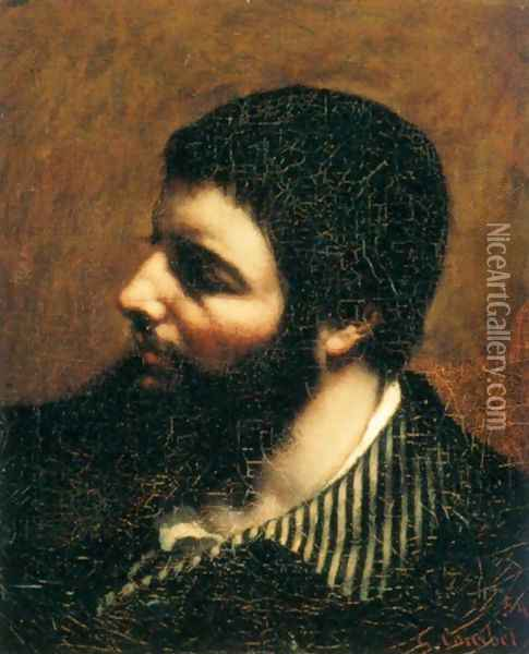 Self-Portrait with Striped Collar Oil Painting - Gustave Courbet