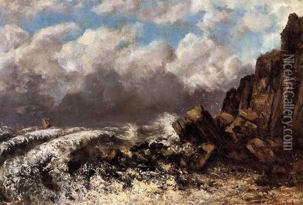 Seascape at Etretat Oil Painting - Gustave Courbet