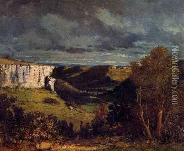 The Valley of the Loue in Stormy Weather Oil Painting - Gustave Courbet