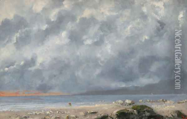 Beach Scene Oil Painting - Gustave Courbet