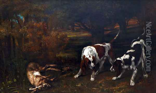 Hunting Dogs Oil Painting - Gustave Courbet