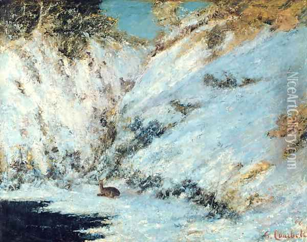 Snowy Landscape, 1866 Oil Painting - Gustave Courbet