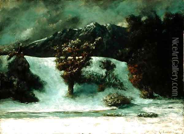 Winter Landscape With The Dents Du Midi, 1876h Oil Painting - Gustave Courbet