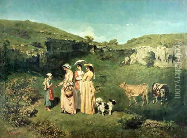 Young Women of the Village Giving Alms to a cowherd, 1852 Oil Painting - Gustave Courbet