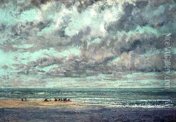 Marine--Les Equilleurs Oil Painting - Gustave Courbet