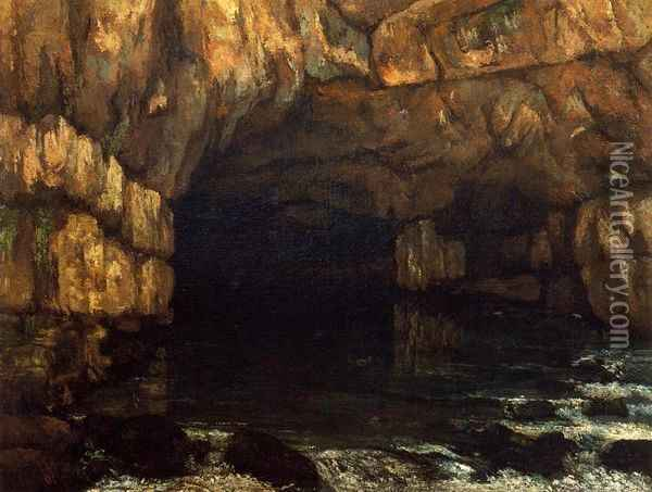 The Source of the Loue Oil Painting - Gustave Courbet