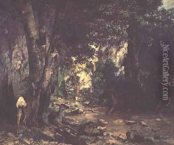 The Return of the Deer to the Stream at Plaisir-Fontaine, 1866 Oil Painting - Gustave Courbet