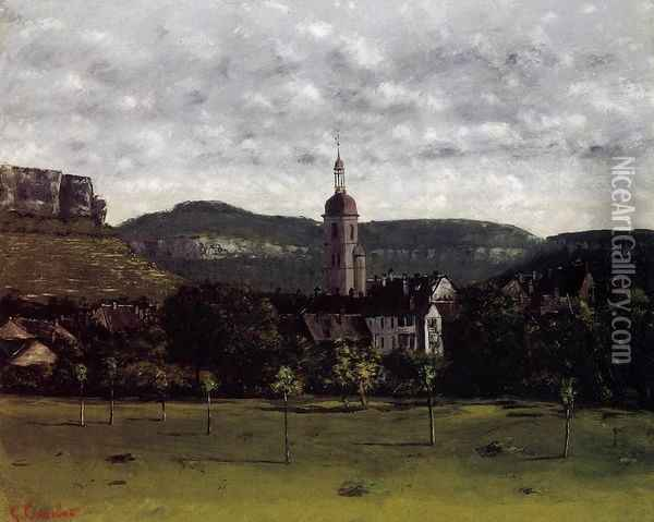 View of Ornans and Its Church Steeple Oil Painting - Gustave Courbet