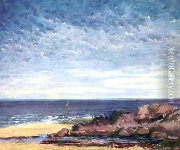 Sea coast in Normandy Oil Painting - Gustave Courbet