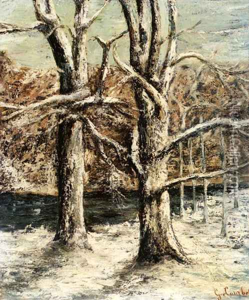 Woods in the Snow Oil Painting - Gustave Courbet