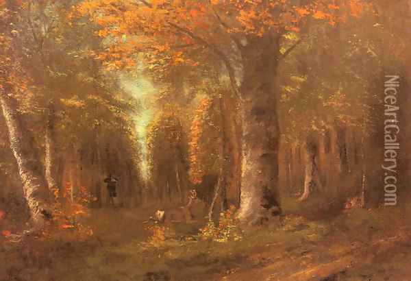 La Fôret En Automne (Forest in Autumn) Oil Painting - Gustave Courbet